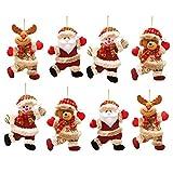Navidad Decoración Colgante,LLMZ 8 Pcs Muñeca de la Decoración de la Navidad con Papá Noel, Muñeco de Nieve, Reno, Oso,Adornos Navideños Decoraciones para Fiesta de Navidad, Árbol de Navidad, Regalos