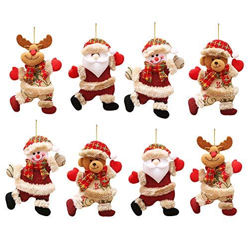 LLMZ Decorazioni Natalizie da Appendere, 8 Pezzi Babbo Natale Pupazzo di Neve Renna Bambola Decorazioni per Albero di Natale per Festa di Natale, Albero di Natale, Armadio,Feste Regali