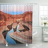 NOBRAND Duschvorhang Blue Reflection Canyon on Lake Powell Utah USA Orange Wasserdicht Polyester Stoff 182,9 x 182,9 cm Set mit Haken