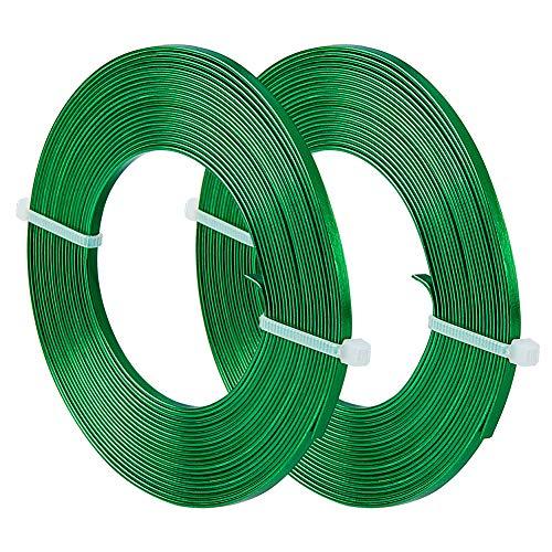 BENECREAT 10m Filo Piatto in Alluminio Filo per Gioielli Largo 3mm Accessori Artigianali in Metallo 5m / Rotolo - Verde