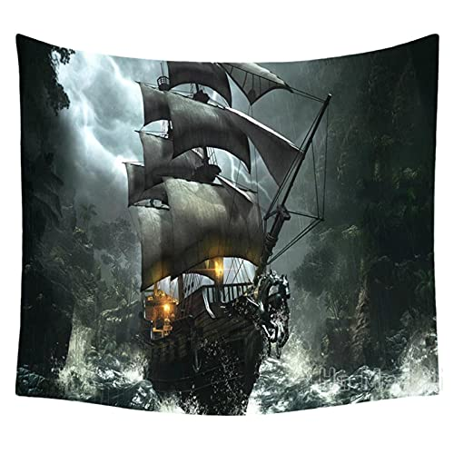 Tapiz BY MJMCYBQQY Pirate Ship Design Unique TapizRoom Accessories Bedroom Living Room Wall Hanging Decoration 59.05'x51.18'Inch(150x130 Cm)