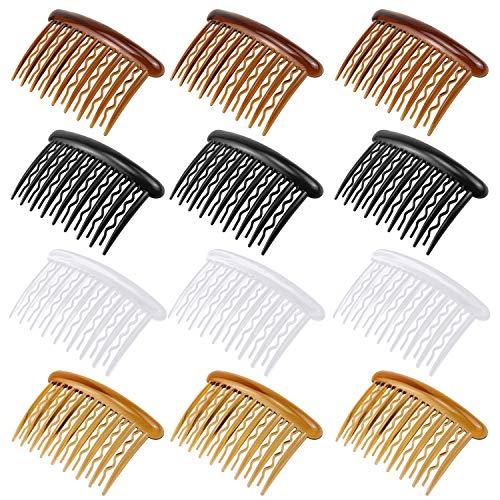 SelfTek 12 pezzi di capelli pettini pettini di plastica di 4 colori per capelli fini e velo da sposa