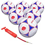 GoSports Premier Soccer Ball with Premium Pump & Mesh Carrying Bag (6 Pack), Size 3, Multicolor