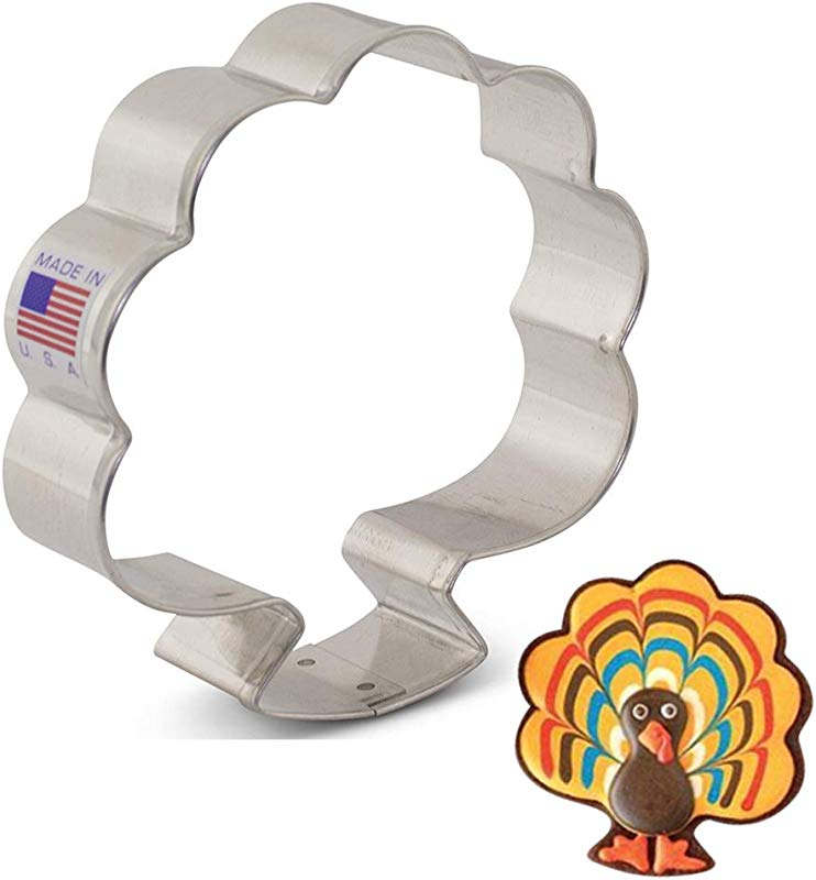 Ann Clark Cookie Cutters Thanksgiving Turkey Bouquet Cookie Cutter By LilaLoa Front View Forward Facing 3 75