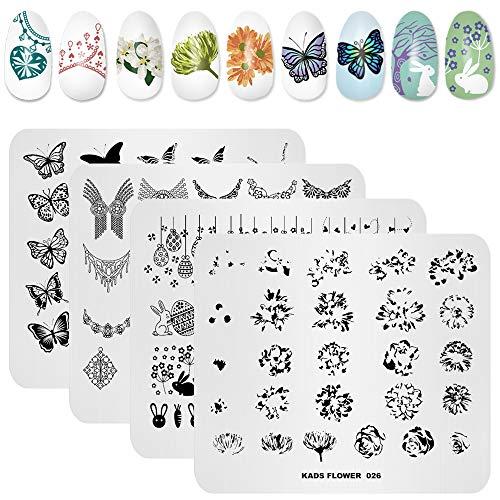 Kads Nageldesign-Stamping-Schablone, Blumenmotiv, Schablone für Maniküre, Nailart-Zubehör, 4 Stück