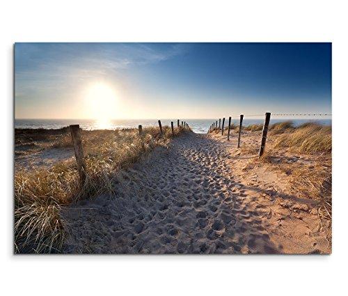 Paul Sinus Art 120x80cm Leinwandbild auf Keilrahmen Holland Nordsee Strand Dünen Sonnenaufgang Wandbild auf Leinwand als Panorama