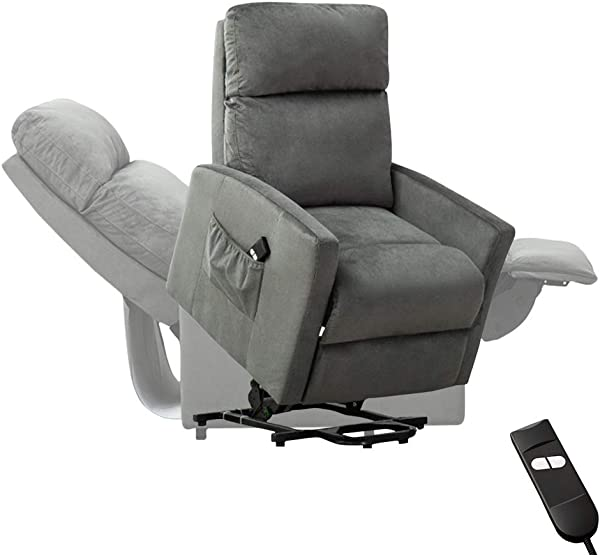 Bonzy Home Power Lift Chair Electric Lift Recliner Sofa Lounge 90 To 150 Degree Adjustable Padded Seat With Bag Headrest Backrest Footrest In Living Gaming Makeup Office Room Gray