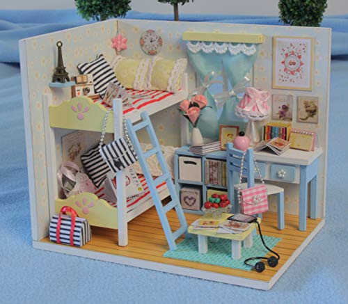 By Teddy Youth Ever Miniature Children's Bedroom Model DIY Dollhouse Project Kit | Includes Lights and Furniture (Unassembled)