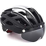 VICTGOAL Casco Bicicleta de Montaña con Visera Magnética Desmontable Casco Protector UV Ligero Unisex Casco Bici para Hombres/Mujeres Adultos (Negro)