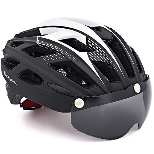 VICTGOAL Casco Bici con Visiera Protettivi Magnetici Rimovibili Casco Bici da Corsa per Adulto Uomo Donna 57-61 CM (Nero)