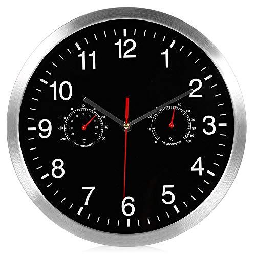 3 In 1 Stille Quarz Wanduhr Leise Sweep Bewegung Thermometer Hygrometer No-Ticking Home Art Decor Uhr