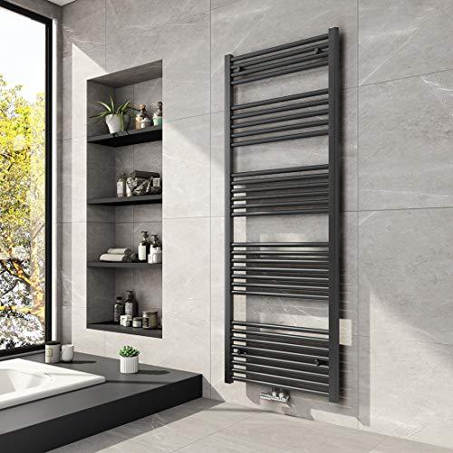 Meykoers Badheizkörper 1600x600mm Mittelanschluss Anthrazit 887 Watt, Handtuchwärmer Handtuchtrockner Heizkörper Heizung für Bad