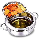 Deep Fryer Pot,304 Stainless Steel with Temperature Control and Lid Japanese Style Tempura Fryer Pan Uncoated Fryer Diameter: 9.4'
