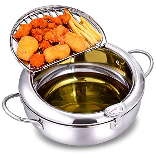 Deep Fryer Pot 304 Stainless Steel with Temperature Control and Lid Japanese Style Tempura Fryer Pan Uncoated Fryer Diameter: 9.4