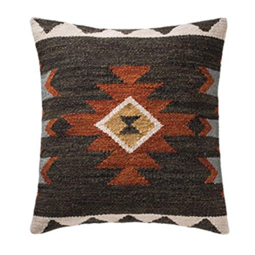 Indian Arts Sakala Stone Handloom Kelim-Kissenbezug, Wolle Polyester baumwolle, Schwarz , 45 x 45 Centimeters