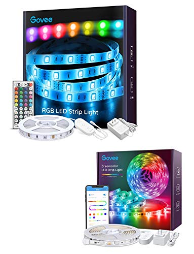 Govee 16.4ft RGB LED Strip with Remote and Control Box and Govee APP Control Bluetooth 16.4ft LED Light Strip Waterproof Bundle Easy Installation LED Light Strip for Room Bedroom