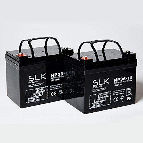 2 Batterien für Elektromobile (12 V, 36 Ah)
