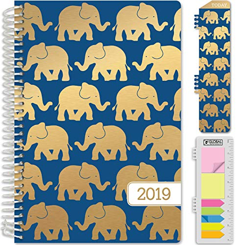 "HARDCOVER Calendar Year 2019 Planner: (November 2018 Through December 2019) 5.5""x8"" Daily Weekly Monthly Planner Yearly Agenda. Bonus Bookmark, Pocket Folder and Sticky Note Set (Blue Elephants)"