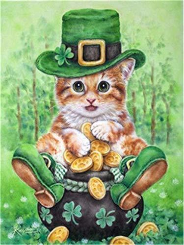 NR Pintar por numeros Animal Cat Moneda de Oro Pintura al óleo Regalo para Adultos Kits de niños Decoración de la casa para el hogar Sin Marco 40x50cm