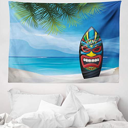 ABAKUHAUS Tiki Bar Tapiz de Pared y Cubrecama Suave, Tiki Tabla de Surf, Decoración para el Cuarto, 150 x 110 cm, Multicolor
