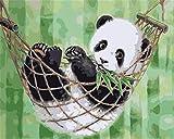 AROPDKOW-AA Kits De Pintura De Diamantes para Adultos Y Niños Panda Animal Pintura De Diamantes De Imitación Redonda con Taladro Completo con Diamantes, Bordado En Punto De Cruz