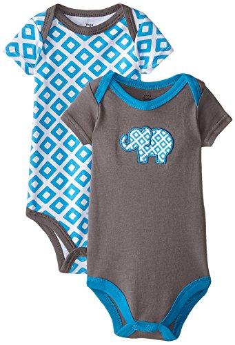 Yoga Sprout Unisex Baby Cotton Bodysuits, Blue Elephant, 0-3 Months
