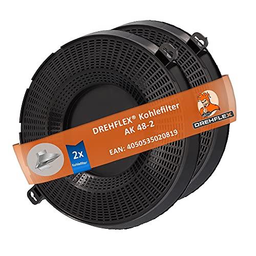 DREHFLEX - 2 Kohlefilter AK48 - Kohlefilter/Aktivkohlefilter - passend für Bauknecht/Whirlpool/Ikea - passend für 482000095104 480122101262 // AMC037 AMC 037