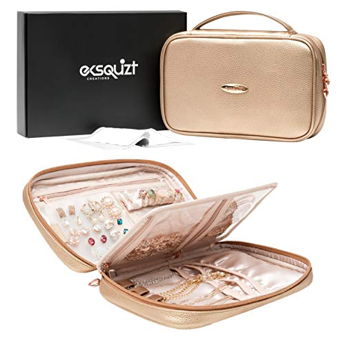 EKSQUIZT Creations Travel Jewelry Organizer Case, Pearl Rose Gold