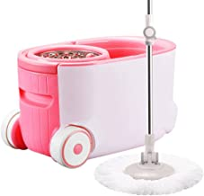 RYDQH Mop Bucket System Stainless Steel 360 Spin Mop with Extended Handle and 2 Microfiber Mop Heads, Basket for Home Kitc...