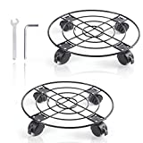 Plant Caddy with Wheels Heavy Duty Metal Iron Large Potted Plant Stand Holder Move Around Indoor Outdoor Garden Patio Flower Pot Planter Adjustable Rolling Dolly Casters with Locking 13 Inches 2 Pack