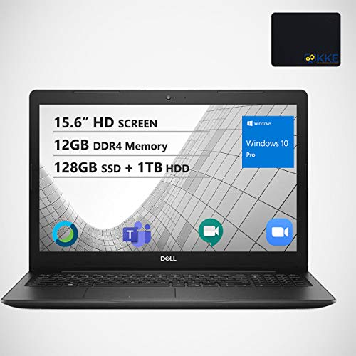 Dell Inspiron 15.6' HD Business Laptop, Intel 4205U, 12GB Memory, 128GB PCIe Solid State Drive + 1TB HDD, Webcam, WiFi, KKE Mousepad, Bluetooth, Win10 Pro, Black
