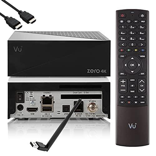 VU Zero 4K - Ricevitore satellitare UHD HDR con 1 sintonizzatore DVB-S2X, E2 Linux Smart Receiver, CI + lettore di schede, lettore multimediale, HbbTV Mediathek, USB, 150 Mbit WiFi + cavo EasyMouse