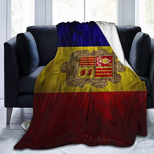 AEMAPE Andorra Flag Fürstentum Andorra Fleece Decke werfen leichte Decke Super weiches gemütliches Bett warme Decke für Wohnzimmer Schlafzimmer die ganze Saison