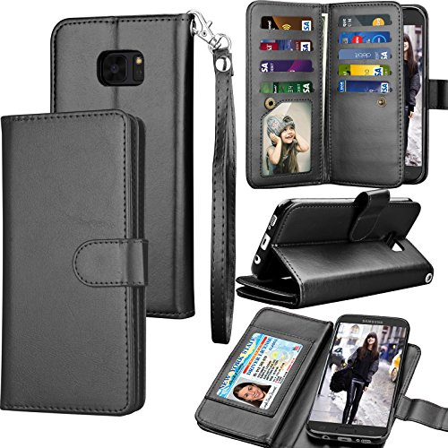 Tekcoo for Galaxy S7 Edge Case / S7 Edge Wallet Case, ID Cash Credit Card Slots Holder Purse Carrying PU Leather Folio Flip Cover [Detachable Magnetic Hard Case] Kickstand for Samsung S7 Edge - Black