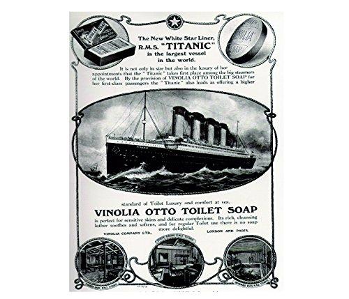 Titanic vinolia otto toilet badkamer zeep retro shabby chic vintage stijl acryl koelkast magneet of kan worden gebruikt een plaque