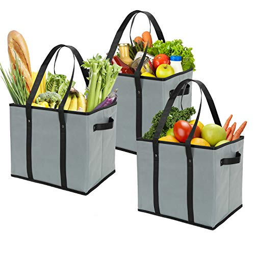 Foraineam 3Pack Extra Large Reusable Grocery Bags Gray Durable Heavy Duty Grocery Totes Bag Storage Box Bins Collapsible Grocery Shopping Box Bags with Reinforced Bottom