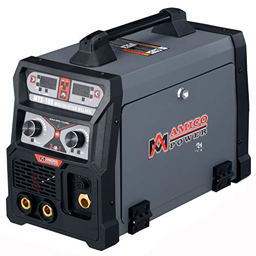 Amico MTS-165, 165 Amp MIG/Flux Cored Wire, TIG Torch, Stick Arc DC Inverter Welder 3-IN-1 Combo Welding, 110/230V Dual Voltage.