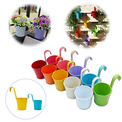 GIOVARA Set of 10 Large Metal Flower Pots Vase Hanging Planter Basket without Drainage Hole, Detachable Hook, Balcony Fence Garden Home Decor