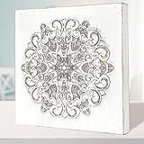 Cuadro Mandala de Pared Calada, Fabricada artesanalmente en España- Mandala 3D Cuadrada Pintada a Mano (224 Blanco, 30x30 cm)