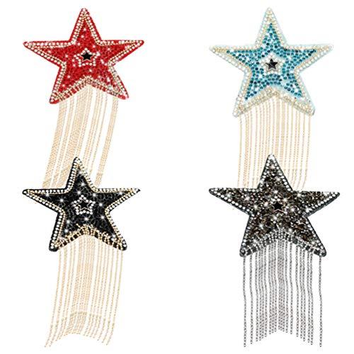 Artibetter 4 Pcs Étoile Patch Fer sur Coudre sur Étoiles Appliques Strass Perles Chaîne Gland Patchs Scrapbooking Tissu Costume Accessoires de Couture