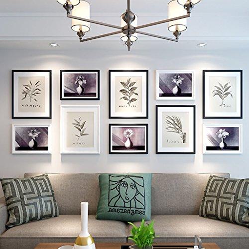 Cadre décoratif Bois 10 Pcs/ensembles Collage Photo Frame Set, cadres photo Vintage, mur de cadre photo famille, cadre photo de mariage bricolage cadre photo ensembles pour mur (Couleur : B)