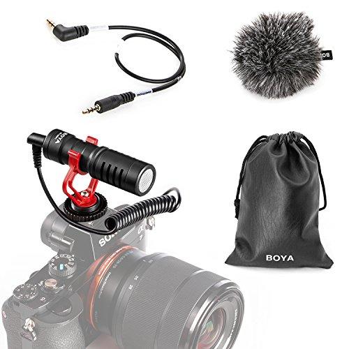 BOYA BY-MM1 Videocamera Microfono video YouTube Vlogging Facebook Registrazione live streaming Microfono a fucile con supporto antiurto per smartphone, tablet, DSLR, videocamera consumer, PC e altro