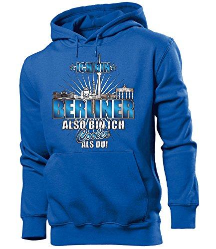 love-all-my-shirts Ich Bin Berliner Also Bin ich Cooler als du 4614 Fussball Fanhoodie Männer Herren Hoodie Pulli Kapuzen Pullover Fanartikel Blau XL