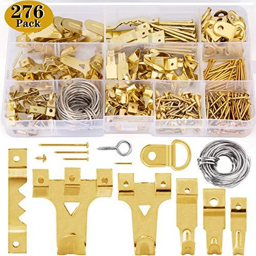 276 PCS Bilderhaken set zum nageln,Wukong Bildaufhänger für Holzrahmen Kunstwerk Bilder Uhren Haken mit Nägeln an Wand und Holz Haltkraft 10-75lbs