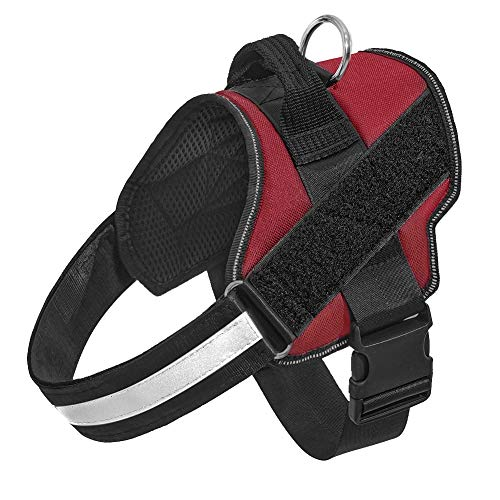 Orinci No Pull Dog Harness for Dogs Adjustable Soft Breathable Padded Pet Vest Reflective Walking Pet Halters with Easy Control Nylon Handle (L, Red)