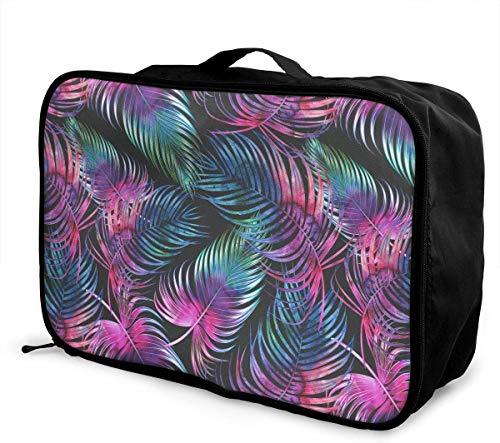 Bolsa de Viaje,Plegable Ligero Bolso Equipaje, Tropical Palm Leaves Watercolor Travel Lightweight Waterproof Foldable Storage Carry Luggage Duffle Tote Bag