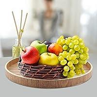 木製サービングトレイ、サービングトレイ高品質の木製素材丈夫なティーセットプレートティーセットフルーツやその他の食品のヴィンテージカラー(33cm)