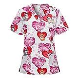 YANFANG Blusa con Cuello en V de Manga Corta para Mujer Blusa Casacas Sanitarias Mujer Manga Corta con Botones a presión con Estampado de Dibujos Animados Uniforme de Trabajo Camisetas