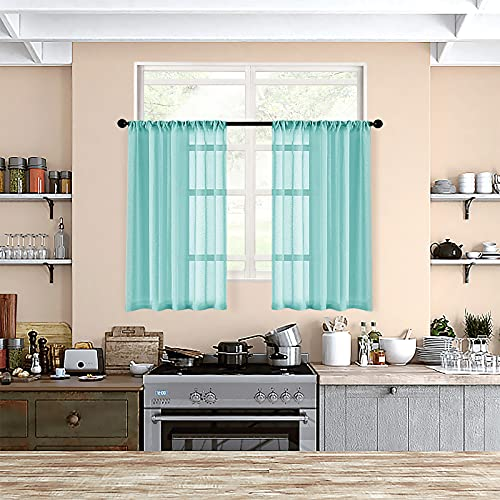 MRTREES Aqua Blue Sheer Tier Curtains Kitchen 36 inch Length Light Filtering Transparent Voile Half Window Curtains Short Sheer Curtains with Rod Pocket 2 Panels