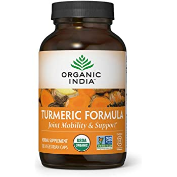 Organic India Turmeric Curcumin Herbal Supplement - Joint Mobility & Support, Immune Support, Healthy Inflammatory Response, Whole Root Supplement, USDA Certified Organic, Non-GMO - 180 Capsules